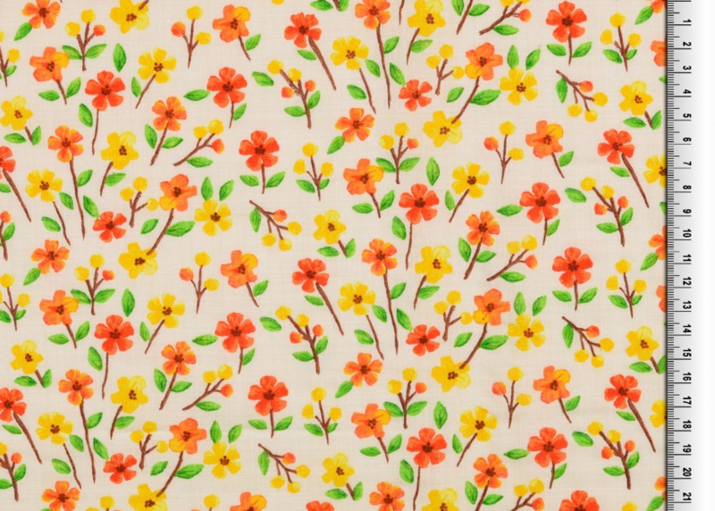 Viscose crepe spring flowers