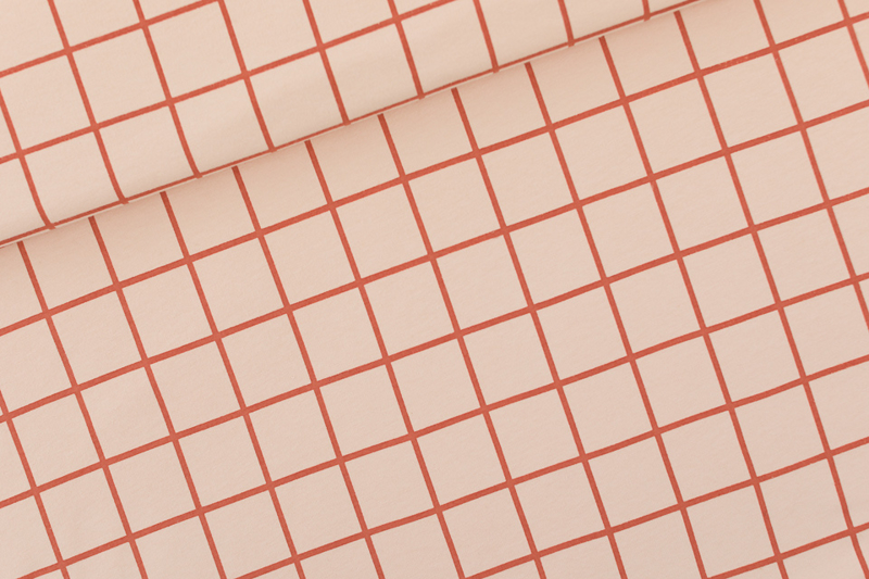 French Terry Grid Evening Pink
