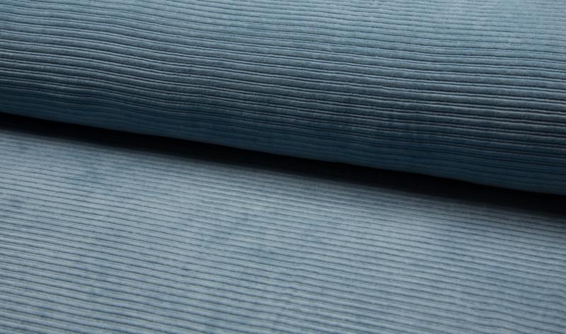 Rekbare corduroy old blue