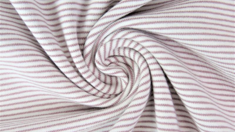 Tricot fijne streep brownish pink