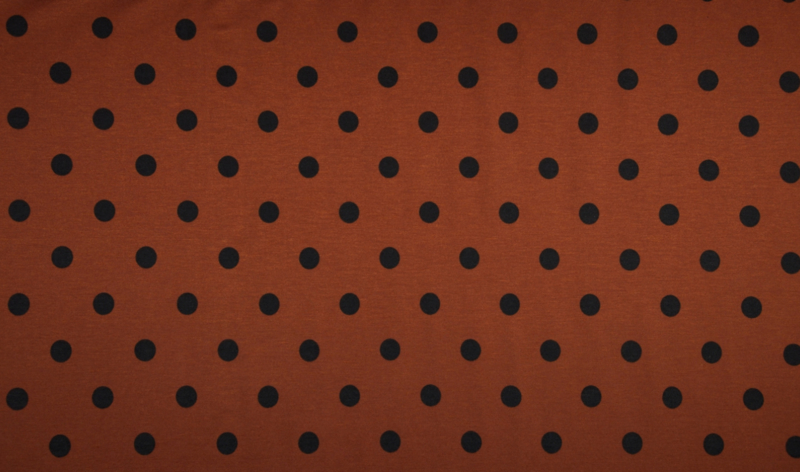 Linnen tricot print dots roest