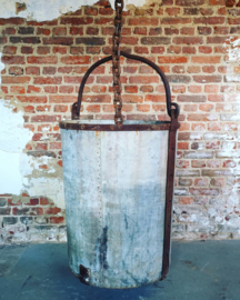 Antique riveted steel & zinc well bucket