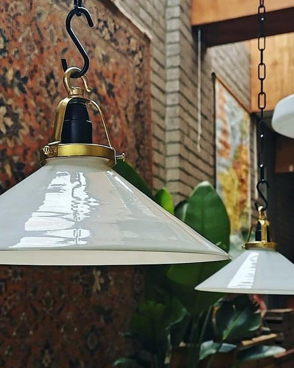 Opaline glass pendant lamp