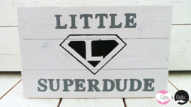 Houten bord: 'Little superdude'