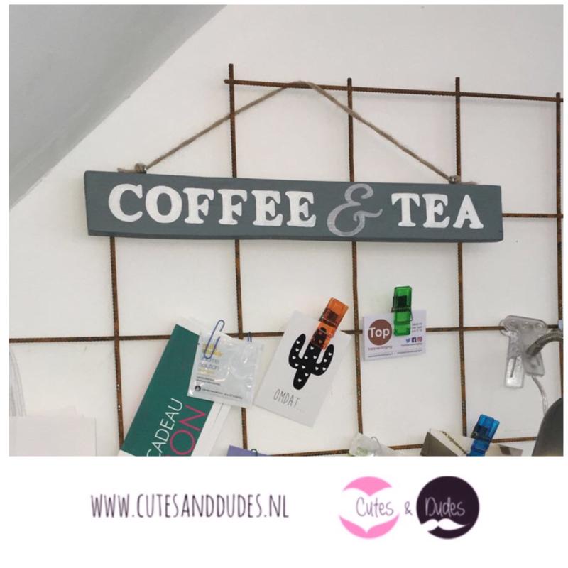 Houten bordje Coffee & Tea