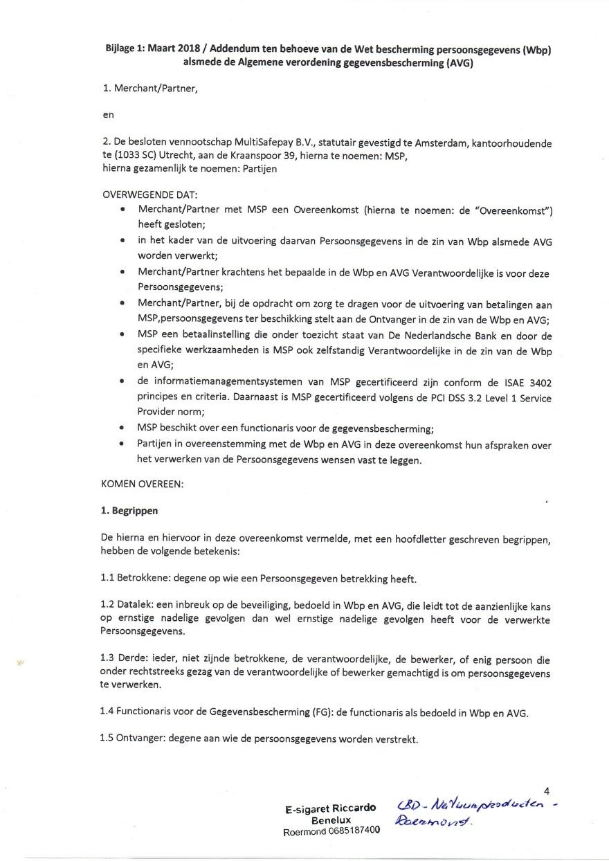 Verwerkinsovereenkomst van Multisafepay_4