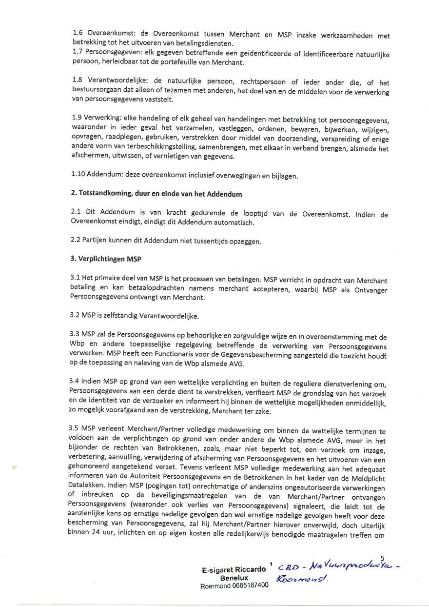 Verwerkinsovereenkomst van Multisafepay_5