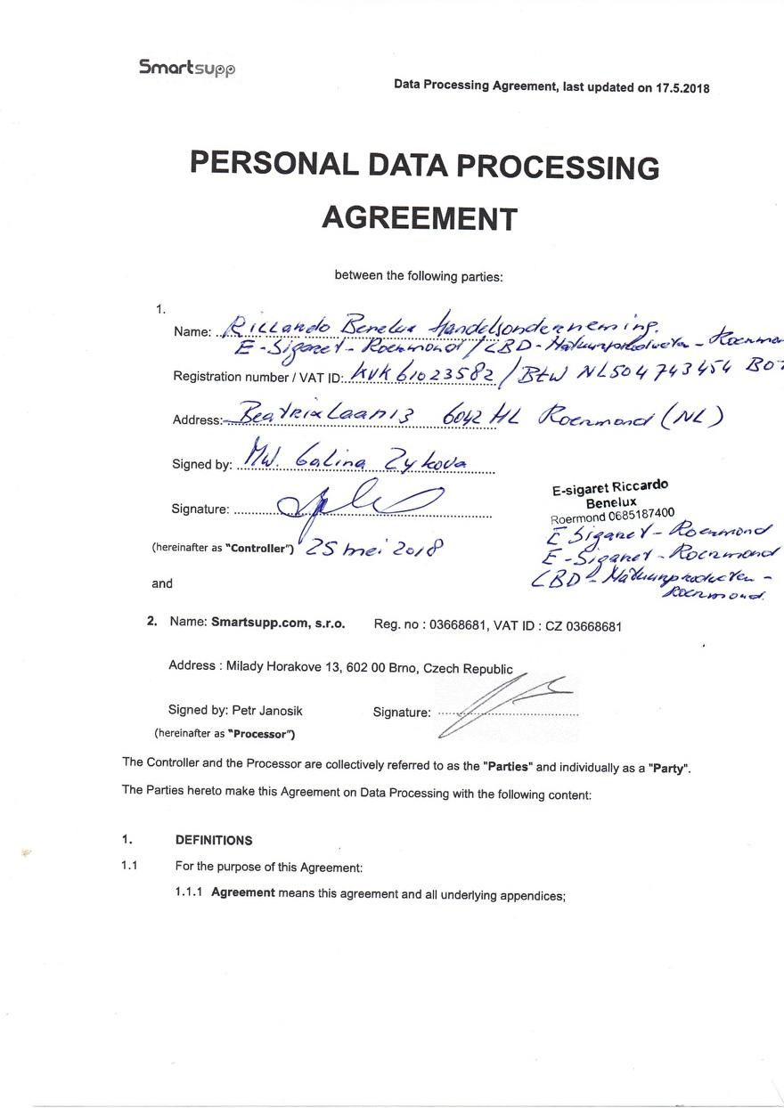 Verwerkinsovereenkomst van Smartsupp_1