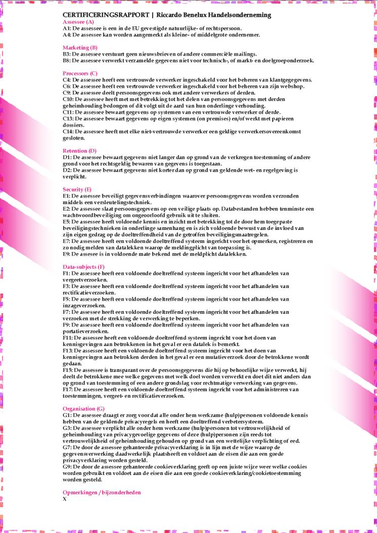 Beoordeling AVG Certificaat Webwinkel Keur