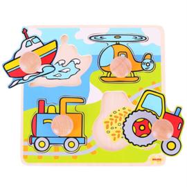 Bigjigs Houten Noppenpuzzel  Transport