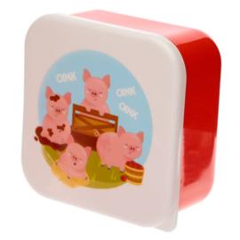 Set van 3 snackboxen - boerderijdieren koe, varken, schaap