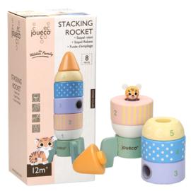 Joueco Houten Stapel Raket - 8 delig