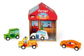 Speeldoos garage met houten autootjes