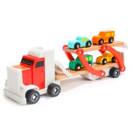 Houten Transporter met auto's