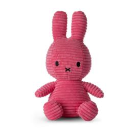 Nijntje /Miffy knuffel corduroy  roze donker