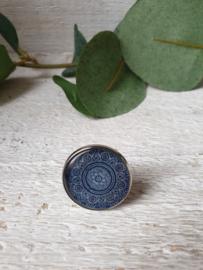 Ring mandala blauw 20mm