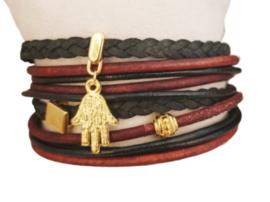 Wikkelarmband, donker rood (goud)