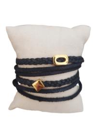 Wikkelarmband zwart, (goud)
