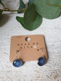 Oorbellen mandala blauw 12mm