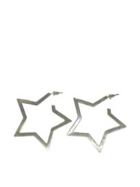Oorbellen ster groot zilver