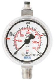 """RVS Contactmanometer, 1/4""""NPT onderaansluiting, diverse drukbereiken"""
