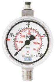 """RVS Contactmanometer, G1/4"""" achteraansluiting, diverse drukbereiken"""