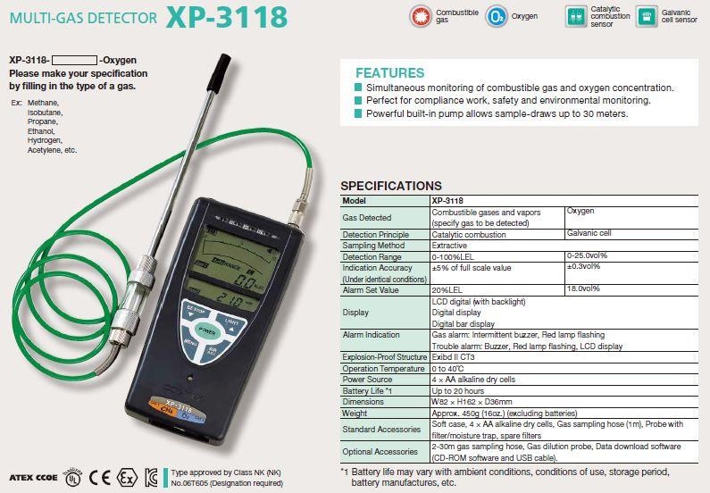 XP-3110 Draagbare multi-gas detector, zuurstof & brandbaar gas, 0 - 100%LEL