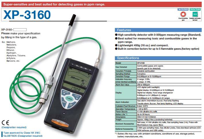XP-3160 Draagbare gas detector, brandbare gassen, 0 - 500ppm