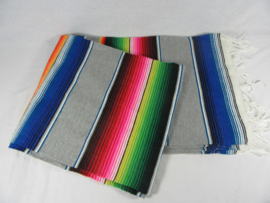 LARGE MEXICAN BLANKET / SERAPE. DOMINANT COLOR LIGHT GREY
