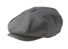 PEAKY BLINDERS NEWSBOY CAP. PINSTRIPE GRIJS