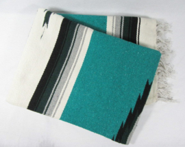 MEXICAN DIAMOND CENTER BLANKET TURQUOISE