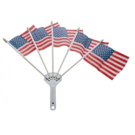VLAGGENHOUDER MET 5 USA VLAGGETJES