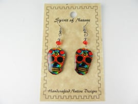 EL DIA DE LA MUERTE SKULL EARRINGS. RED