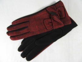GLOVES PIED DE POULE RED