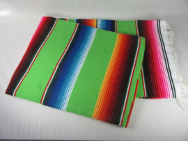 LARGE MEXICAN BLANKET / SERAPE. DOMINANT COLOR LIGHT GREEN