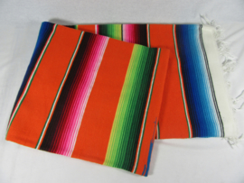 LARGE MEXICAN BLANKET / SERAPE. DOMINANT COLOR AMBER