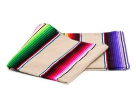 LARGE MEXICAN BLANKET / SERAPE. DOMINANT COLOR WHITE
