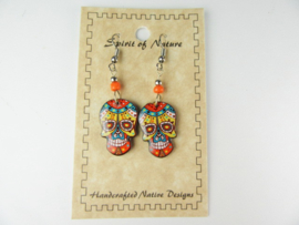 EL DIA DE LA MUERTE SKULL EARRINGS. ORANGE