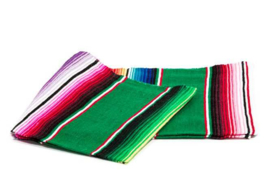 LARGE MEXICAN BLANKET / SERAPE. DOMINANT COLOR GREEN