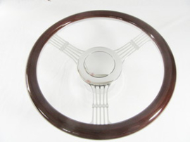 CUSTOM BILLET STEERING WHEEL BANJO. TOP COVERED WITH WALNUT WOOD