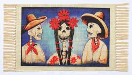 MEXICAANSE DAG VAN DE DODEN PLACEMAT MAN, VROUW MET MANNEN