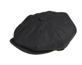 PEAKY BLINDERS NEWSBOY CAP. HERRINGBONE ZWART