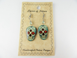 EL DIA DE LA MUERTE SKULL EARRINGS. LIGHTBLUE
