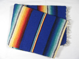 MEXICAN RIO BRAVO BLANKET GREY COBALT BLUE
