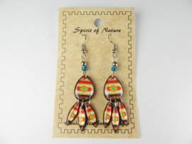 SOUTHWEST STYLE EARRINGS. BRICK-RED