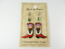 COWBOY BOOTS EARRINGS. BISON