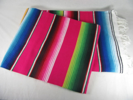 LARGE MEXICAN BLANKET / SERAPE. DOMINANT COLOR FUCHSIA PINK