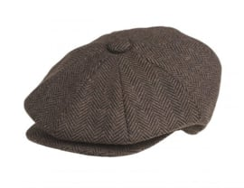 PEAKY BLINDERS NEWSBOY CAP. HERRINGBONE BROWN