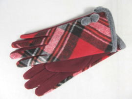 GLOVES CHECKERED RED