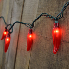 CHILLY PEPPER LIGHTS 20 LIGHTS RED